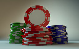 Gambling Chip Stacks Face Forward Stock Images