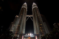 Low angle night time shot of the Petronas twin towers, Kuala Lum Stock Photos