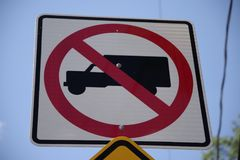Low angle of a no trucks allowed street sign with a closeup view stock photos