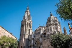 Low angle outdoor view of the Cathedral of Toledo Royalty Free Stock Image