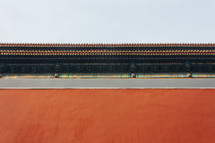 Low angle of Palace red walls,The Forbidden City in Beijing Chin royalty free stock photos