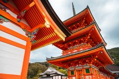 Low angle perspective of the Pagoda Tower at Kiyomizu-dera Temple, Kyoto, Japan. Low angle perspective of the impressive exterior architectural details of the royalty free stock image