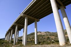 Low angle perspective view of a motorway brid Royalty Free Stock Photos