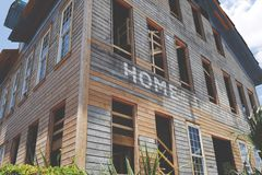 Low Angle Photo Brown Wooden House Stock Images