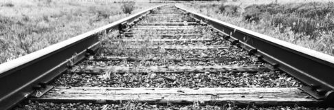 Low angle shot of railroad track stock photos