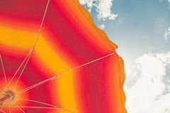Low Angle Photo of Red and Orange Umbrella royalty free stock photos