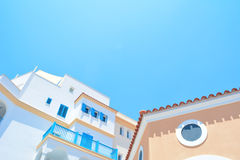 Low Angle Photo of White Brown and Blue Painted Building Stock Photos