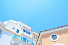 Low Angle Photo of White Brown and Blue Painted Building Royalty Free Stock Image