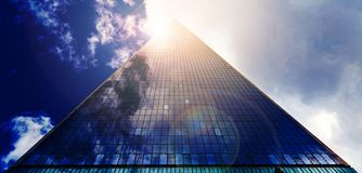 Low Angle Photograph of Pyramid Glass during Calm Weather Royalty Free Stock Image