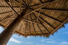 Low Angle Photography of Brown Coconut Hut Royalty Free Stock Image