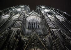 Low Angle Photography of Gray Concrete Cathedral at Nighttime Stock Photos