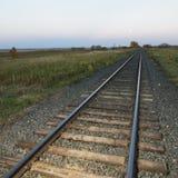 Low angle of railroad tracks. Royalty Free Stock Photo