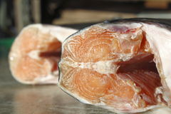 Low Angle of Salmon Body. A low angle view of Coho salmon meat on a butcher's table Royalty Free Stock Photos