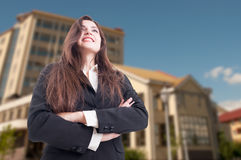 Low angle shot of cheerful female realtor Stock Image