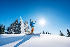 Skier resting on top of the mountain Stock Photos