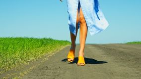 Low-angle shot girl slim legs approach camera on road. Close low-angle shot girl slim legs in flowing skirt approach camera on ground road near green fields stock footage
