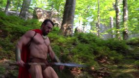 Medieval warrior in the woods. Low angle shot of a handsome mature muscular medieval warrior with stunning sexy ripped strong body wearing red cape running stock footage