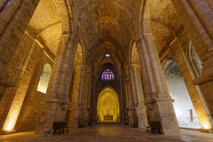 Low-angle shot inside Fontfroide Abbey Royalty Free Stock Photography