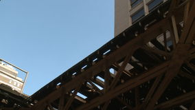 Low Angle shot of L train (5 of 5). Chicago's elevated train system.  Similar to other cities subway system stock video footage