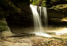 Waterfall in Lasalle canyon. Low angle shot of Lasalle canyon, Starved Rock state park, Illinois Royalty Free Stock Photography
