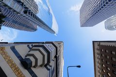 Low angle shot of Los Angeles Downtown buildings. With a blue sky Royalty Free Stock Photos