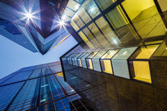 Low angle shot for modern building. At night Royalty Free Stock Photo