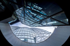 Low angle shot of modern glass city building Stock Photo
