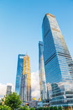 Low angle shot of modern glass city buildings with clear sky in Shanghai, China Royalty Free Stock Photos