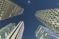 Low angle shot of skyscrapers at night, Shinjuku,  Royalty Free Stock Images