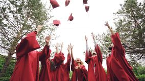 Low angle shot slow motion of happy grads throwing traditional hats in the sky, laughing and having fun on graduation. Day on campus. Education, fun and modern stock video footage