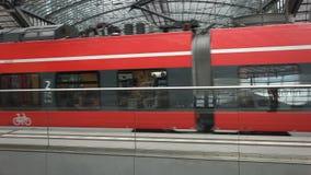 Berlin Main Station Tracks. Low angle shot of the upper level tracks of the Berlin Main Station stock video