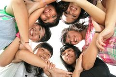 Low angle six peoples. Low angle six happy peoples Royalty Free Stock Photo