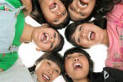 Low angle six peoples. Low angle six happy peoples Royalty Free Stock Photography