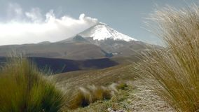 Tungurahua Volcano Eruption Crater View. Low Angle Static Footage Of Cotopaxi Volcano Crater During 2015 Eruption stock footage