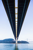 Low angle of suspension bridge in Hong Kong Royalty Free Stock Images