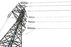 Isolated Electricity Pylon Royalty Free Stock Image
