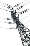 Isolated Electricity Pylon. Low angle tilted shot of a high-voltage electricity pylon and power lines, isolated on white background Royalty Free Stock Photos