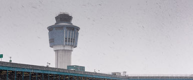 Low angle view of air traffic control tower in Royalty Free Stock Image