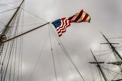 United States of America Flag unfurled on Ship`s Mast Royalty Free Stock Image