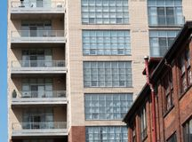 Low angle view of an apartment building, Toronto, Ontario, Canad. A Royalty Free Stock Photo