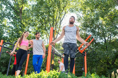 Low-angle view of an athletic young man increasing his heart rat. Low-angle view of an athletic young men increasing his heart rate, through jumping rope during Royalty Free Stock Photo