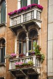 Low angle view of a balcony of residential building. Venice, Veneto, Italy Stock Images