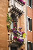 Low angle view of a balcony of residential building. Venice, Veneto, Italy Royalty Free Stock Photography