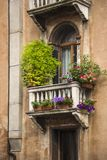 Low angle view of a balcony of residential building. Venice, Veneto, Italy Royalty Free Stock Images