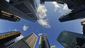 Low angle view of banks and commercial buildings in singapores cbd central stock footage