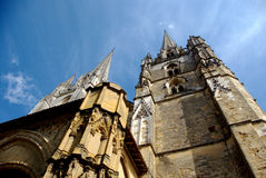 Low-angle view of Bayonne cathedral. A nice low-angle view of the Bayonne Cathedral stock photo
