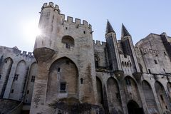 Low angle view of beautiful famous Palais des Papes. (Papal palace) in Avignon France royalty free stock images