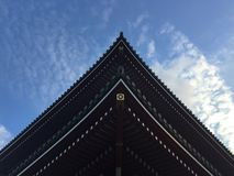 Low angle view of the beautiful wooden roof of the Senso-ji temple in Tokyo, Japan royalty free stock image