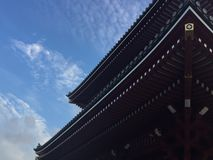 Low angle view of the beautiful wooden roof of the Senso-ji temple in Tokyo, Japan royalty free stock photo