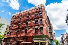 Low angle view of brick building in Soho in New York stock photos
